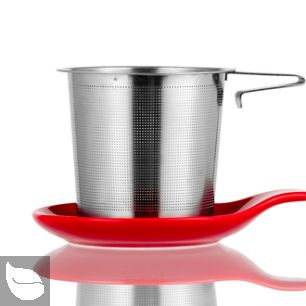 Hook Handle Tea Infuser and Dish Set Red
